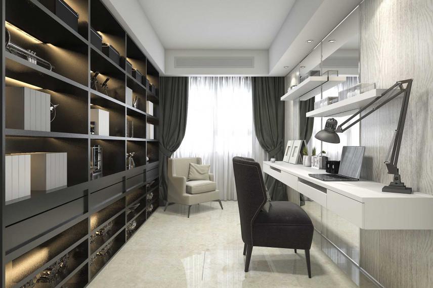Wąskie, niewielkie biuro w domu