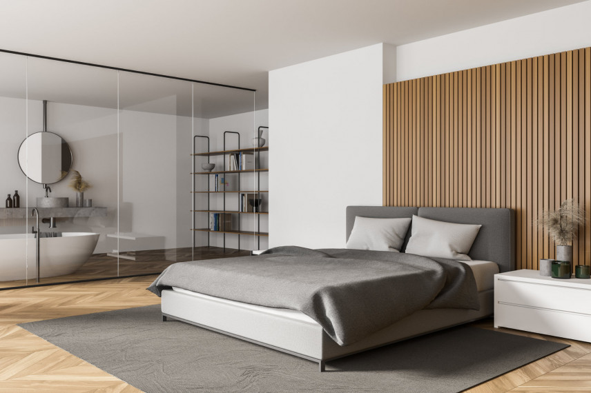Nowoczesna sypialnia w kolorach biało-brązowych