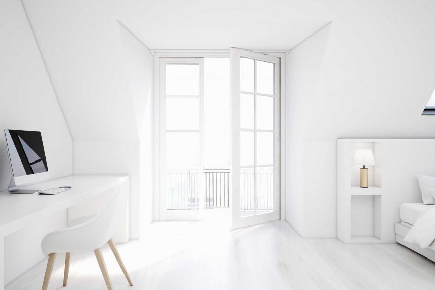 Białe biuro w sypialni
