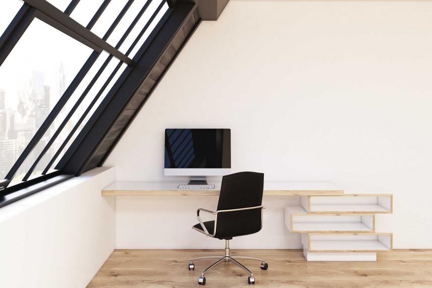 Awangardowe biurko na poddaszu