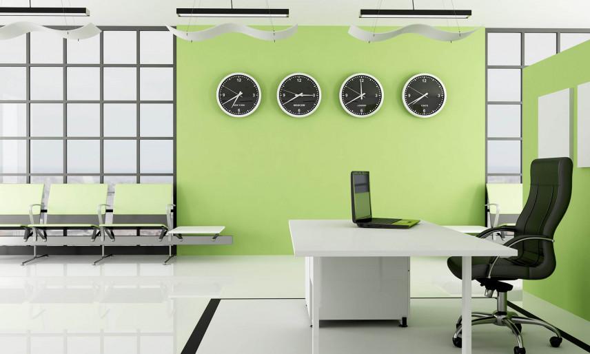 Zielone ściany w biurze