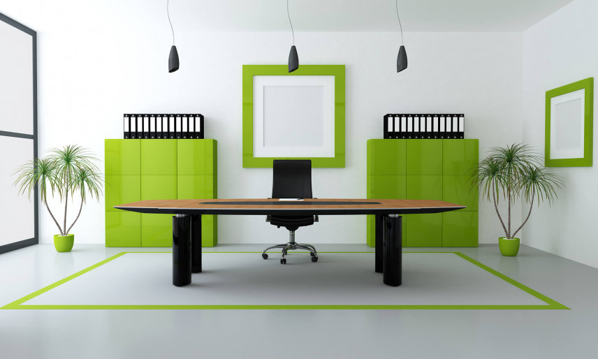 Gabinet w firmie z zielonymi dodatkami