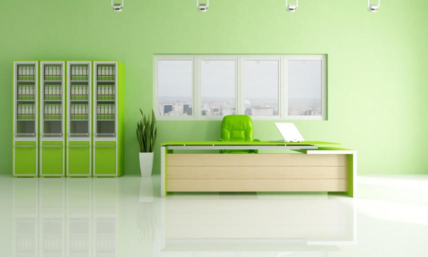 Zielona ściana w biurze