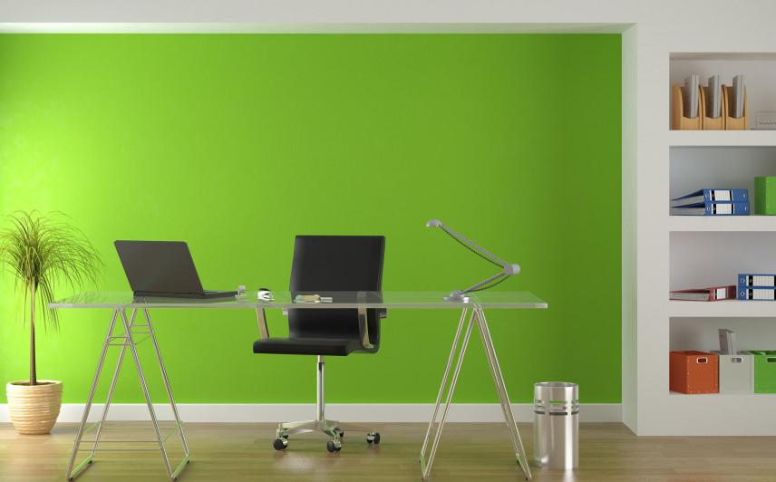 Biuro w mieszkaniu z zieloną ścianą