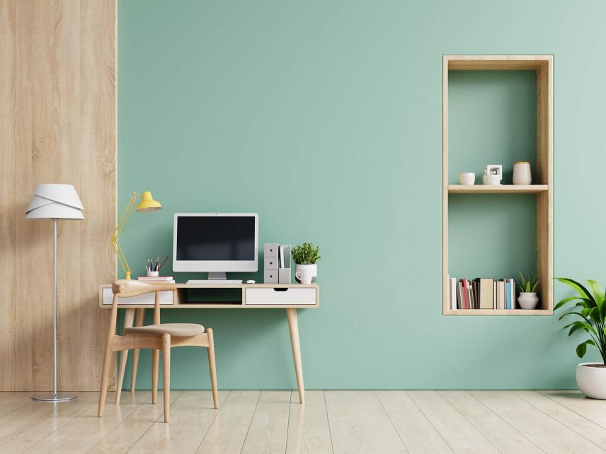 Pastelowa zieleń z biurkiem