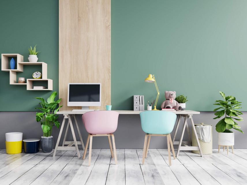 Pastelowe biuro w domu