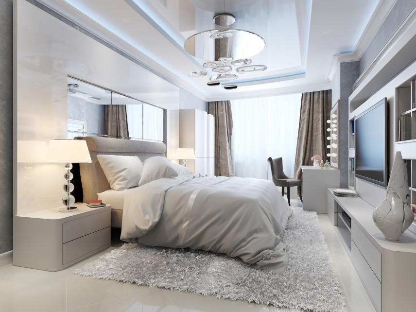 Sypialnia z elementami glamour