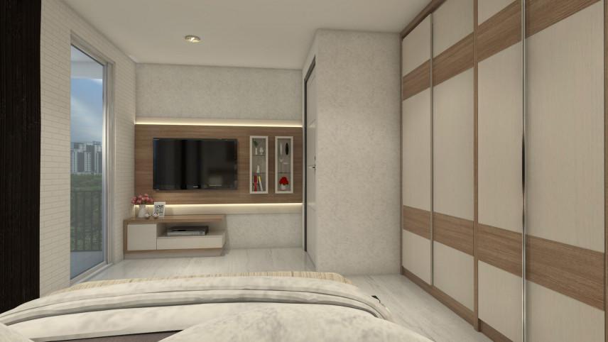 Mała, beżowa sypialnia