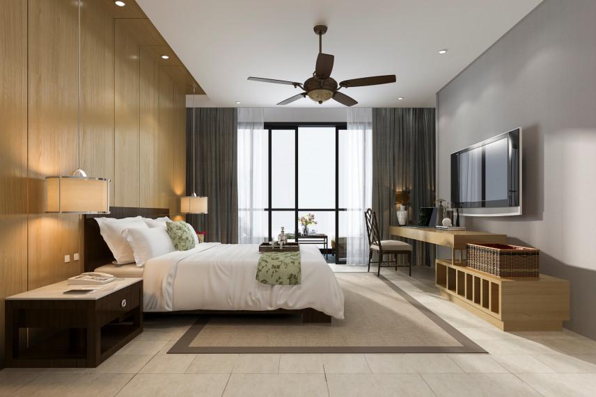 Sypialnia z wiatrakiem na suficie