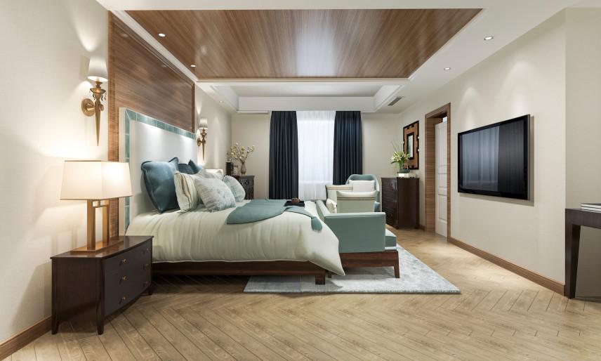 Angielska sypialnia z pięknymi lampami
