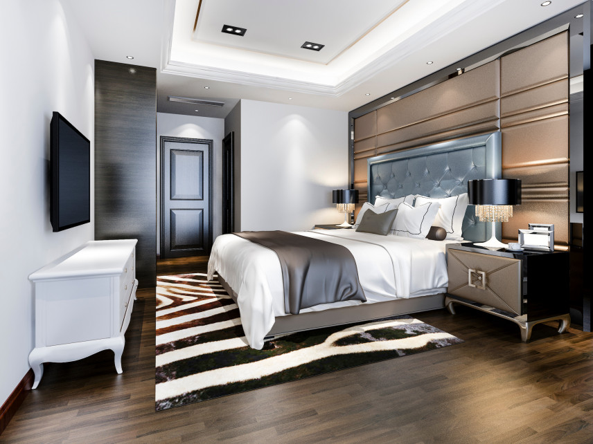 Projekt sypialni z telewizorem