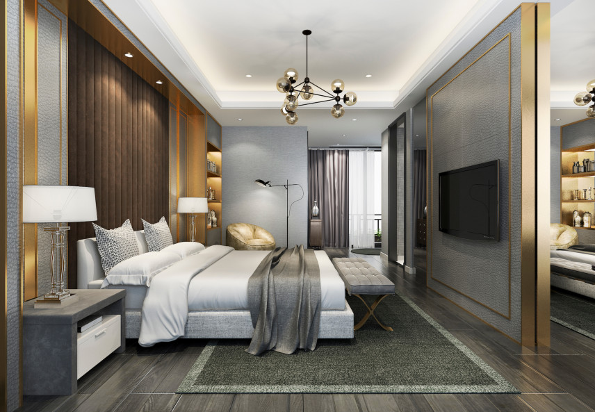 Brązowo-szara sypialnia w stylu angielskim