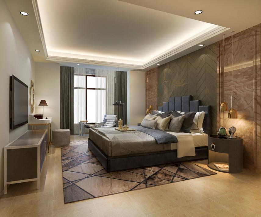 Toskańska sypialnia z łóżkiem kontynentalnym