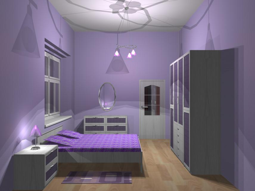 Projekt fioletowej sypialni