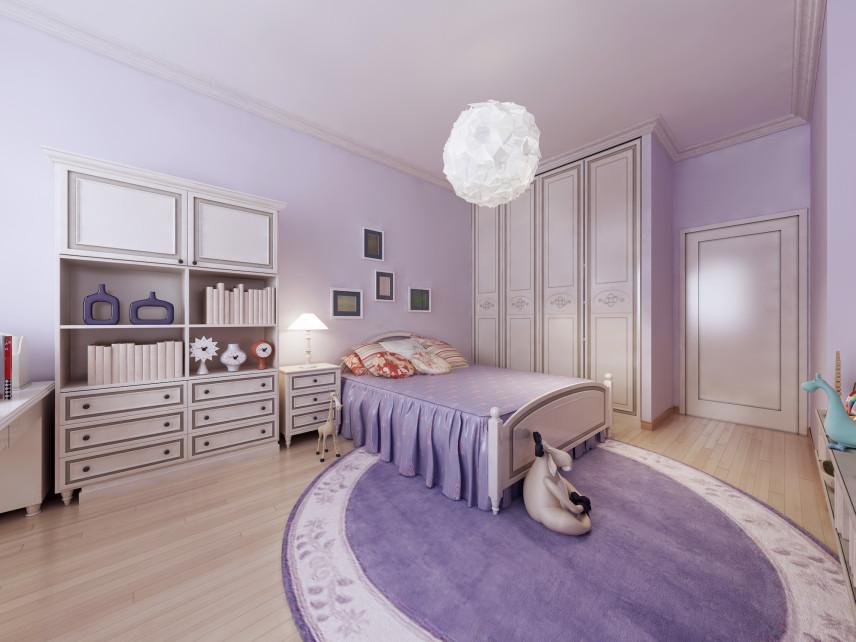 Sypiania z fioletowym dywanem