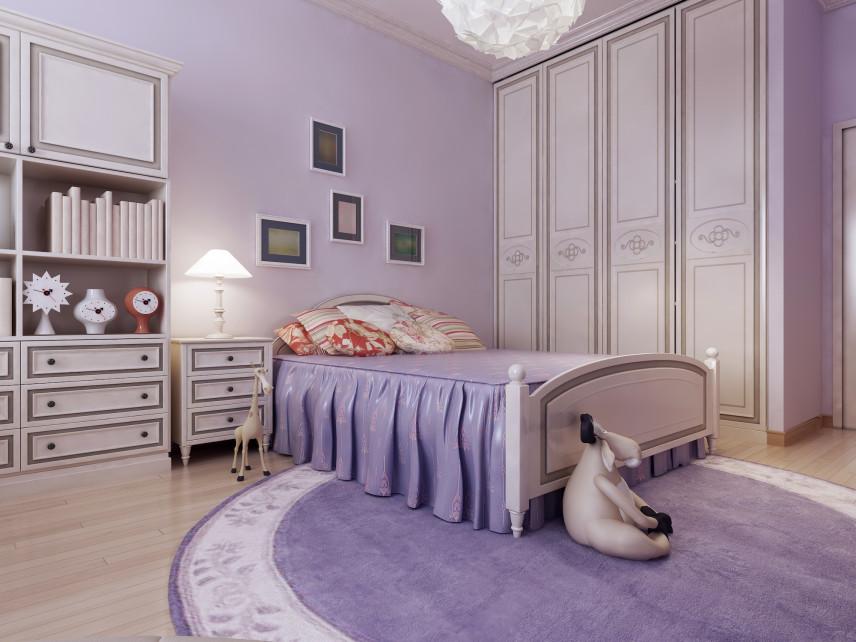 Klasyczna sypialnia w kolorach lawendy