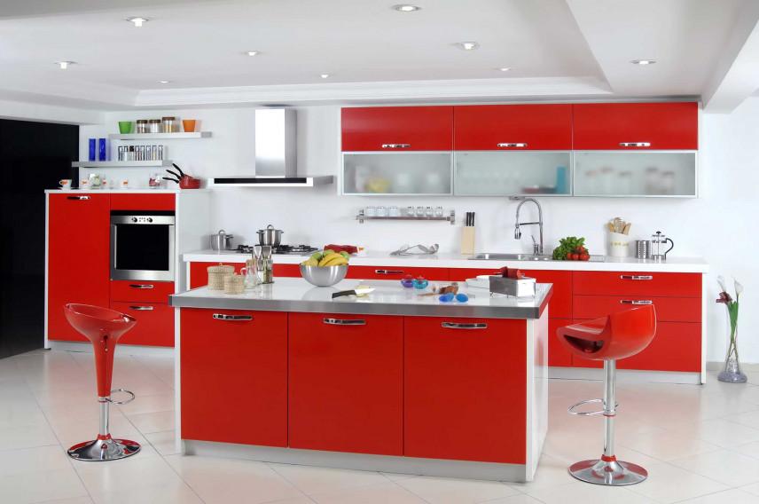 Kuchnia w kolorze czerwonym