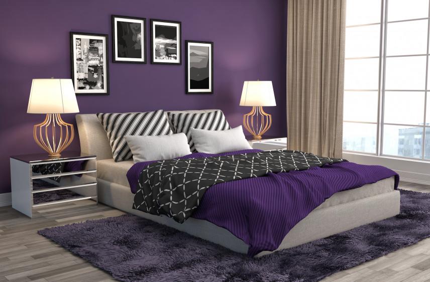 Ciemny fiolet w sypialni