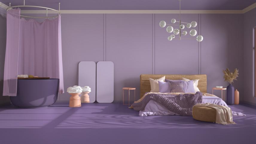 Projekt sypialni w fiolecie
