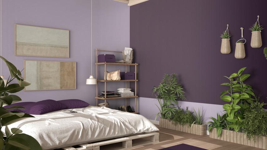 Projekt sypialni z roślinami