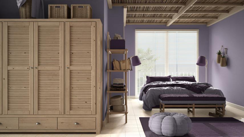 Drewniany sufit w sypialni