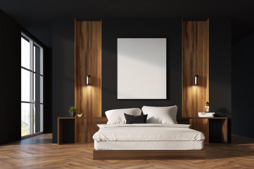 Aranżacja sypialni z czarnymi ścianami