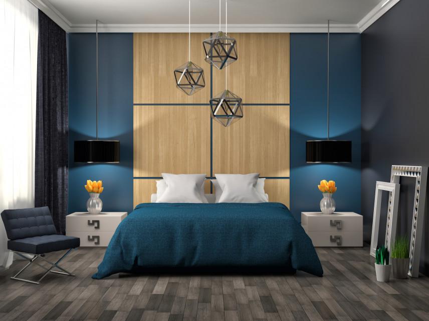 Sypialnia z granatowo-brązową ścianą