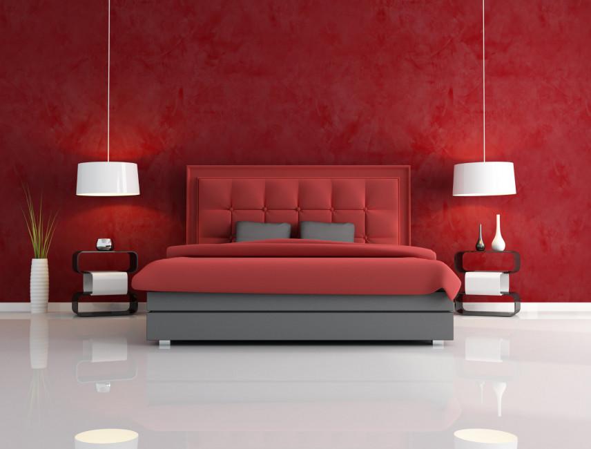 Czerwone łóżko kontynentalne