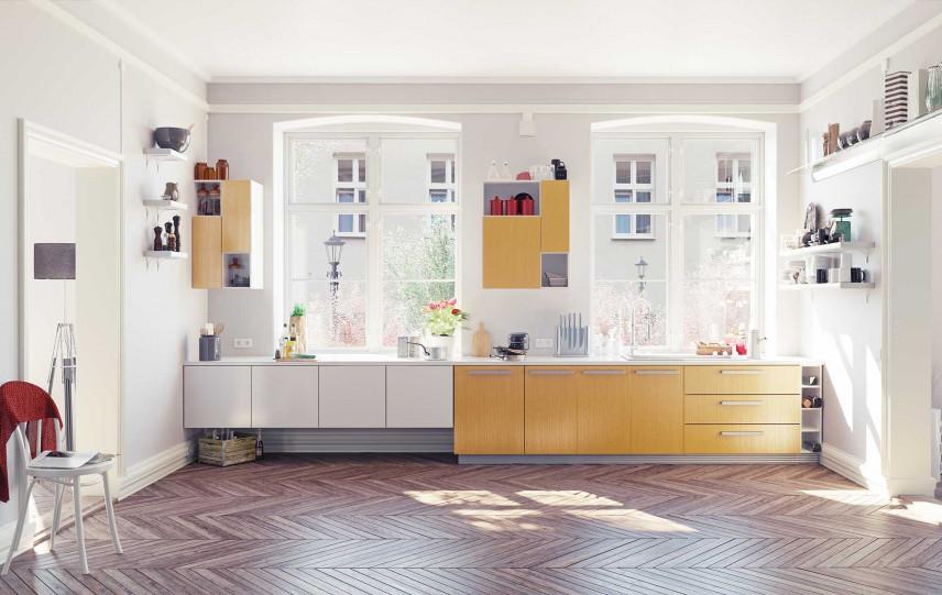 Jasna kuchnia z dużymi oknami