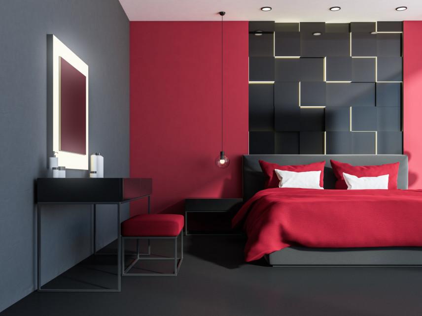 Czerwono-czarna sypialnia z toaletką