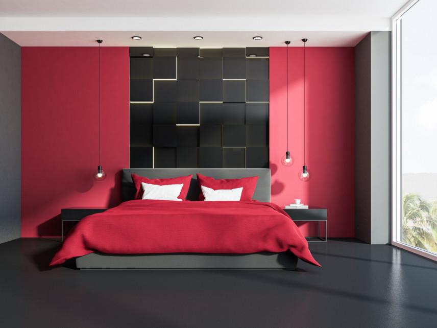 Czerwono-czarna sypialnia