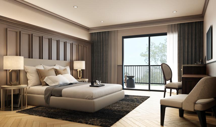 Sypialnia z boazerią na ścianie