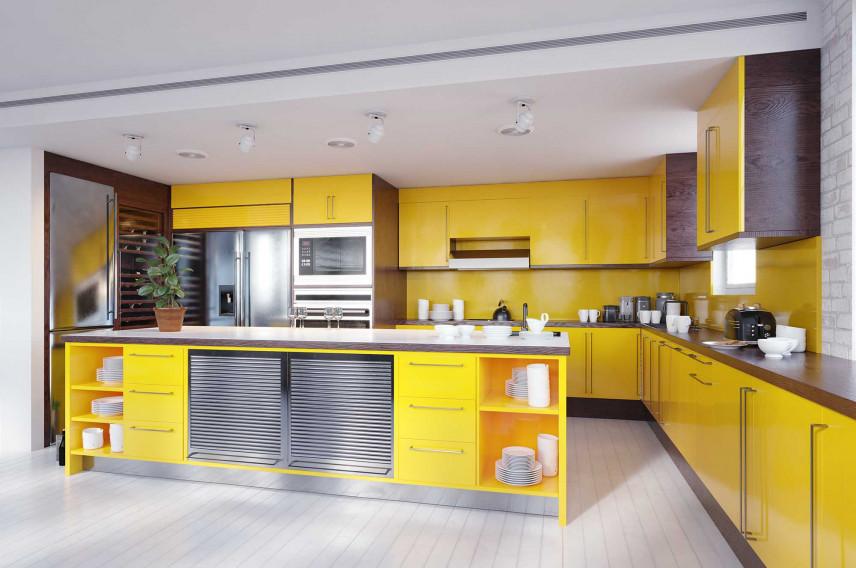 Nowoczesna kuchnia żółta.
