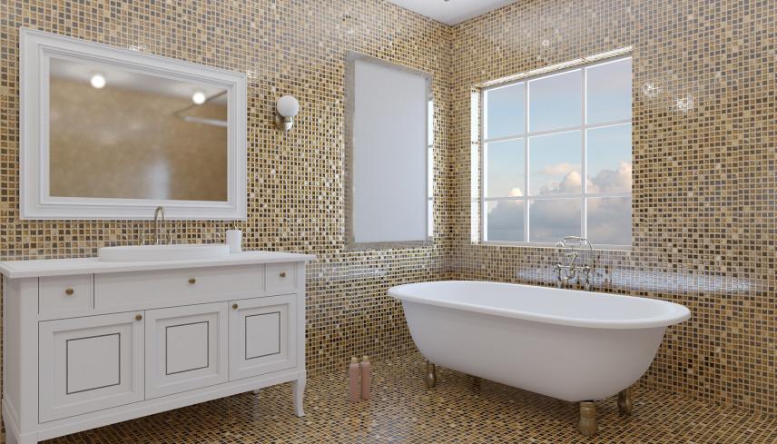 Projekt łazienki w złocie