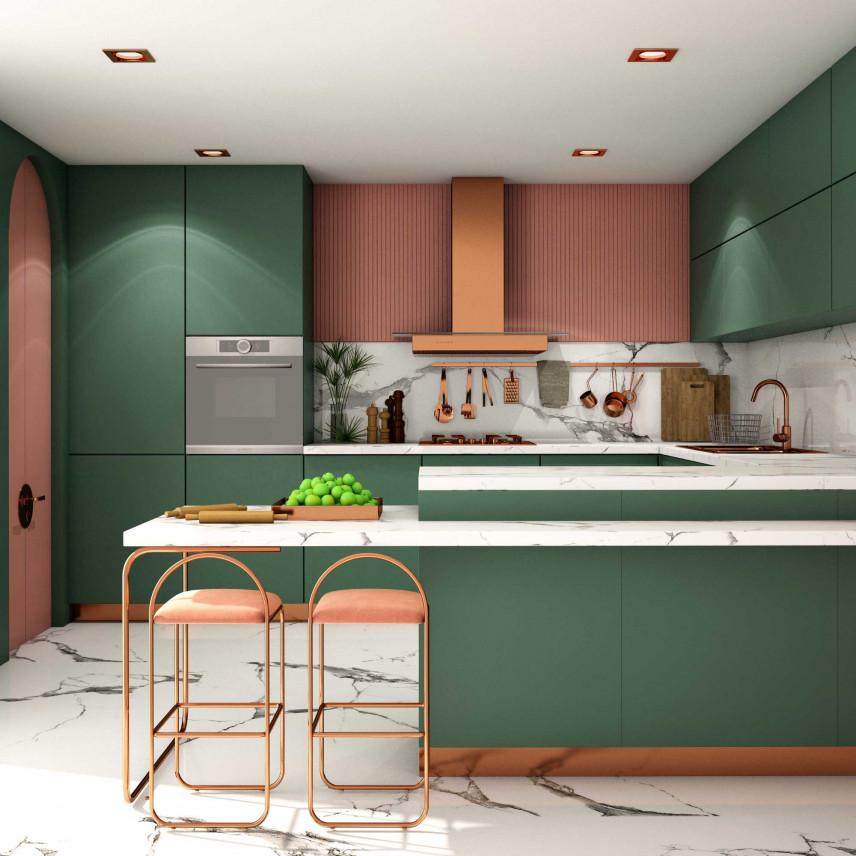 Zielono-brązowa kuchnia retro