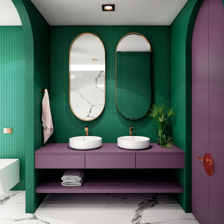 Zielono-fioletowa łazienka