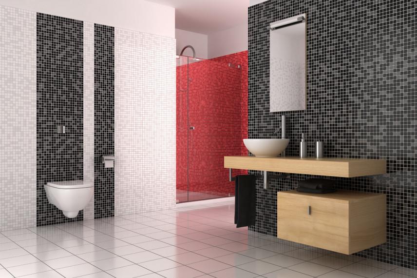 Łazienka w kolorze biało-czarno-czerwonym