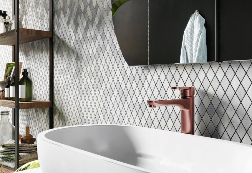Industrialna łazienka z mozaiką