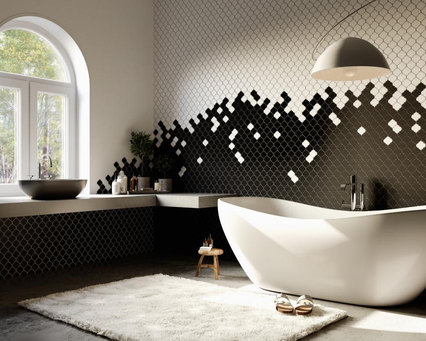 Łazienka z oryginalna mozaiką na ścianie