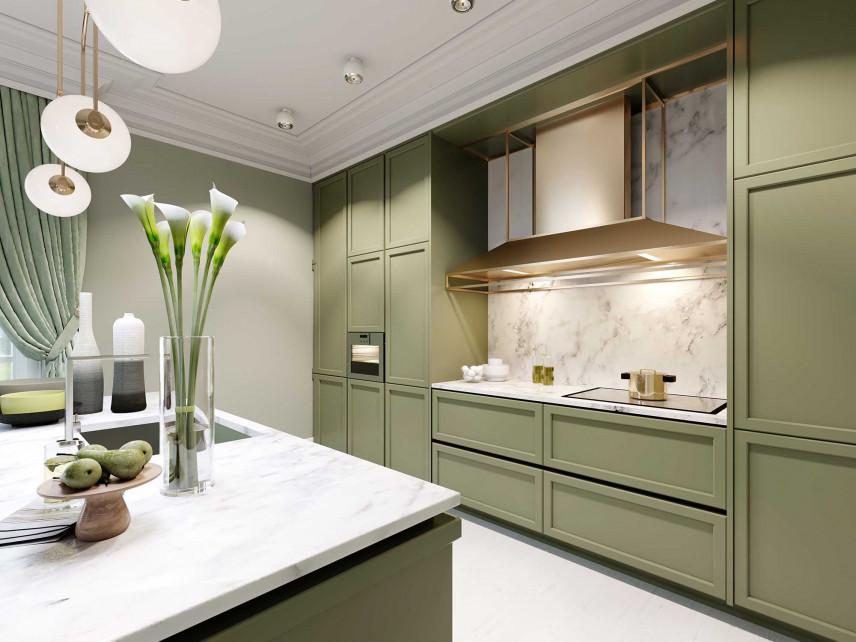 Elegancka kuchnia w kolorze oliwkowym
