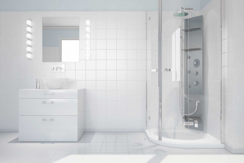 Łazienka z prysznicem do hydromasażu