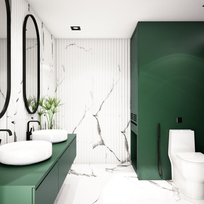 Biało zielona łazienka z marmurowymi ścianami