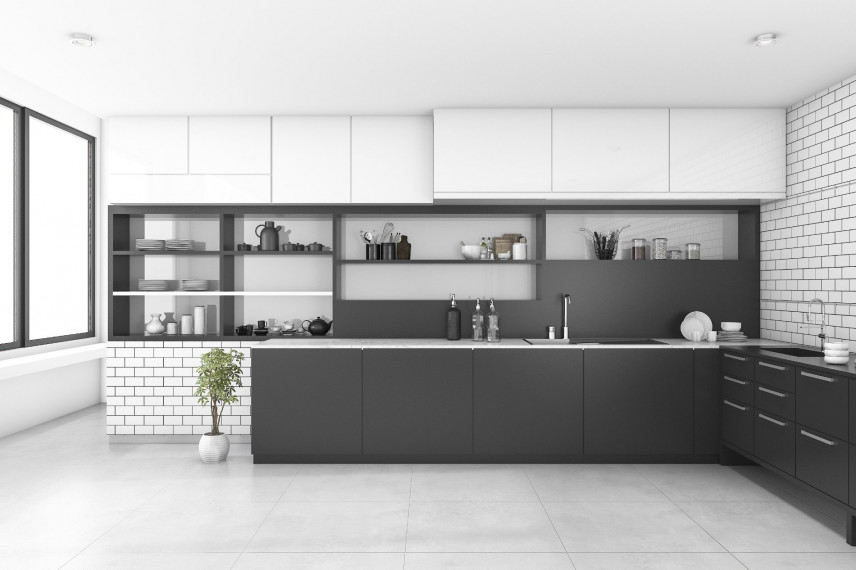 Nowoczesna czarno-biała kuchnia