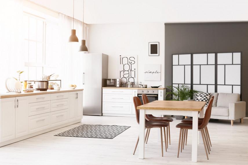 Biało-szara kuchnia w stylu skandynawskim