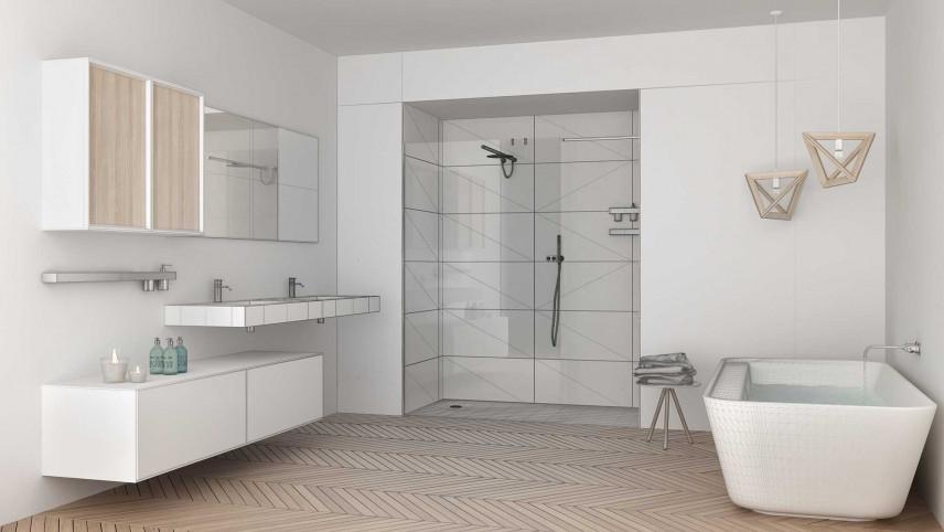 Minimalistyczna łazienka w kolorze białym