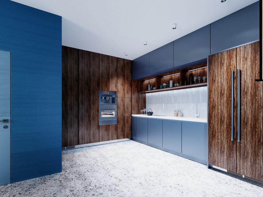 Kuchnia z niebieskimi frontami mebli