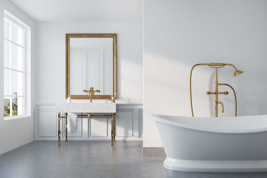 Biała łazienka w stylu retro