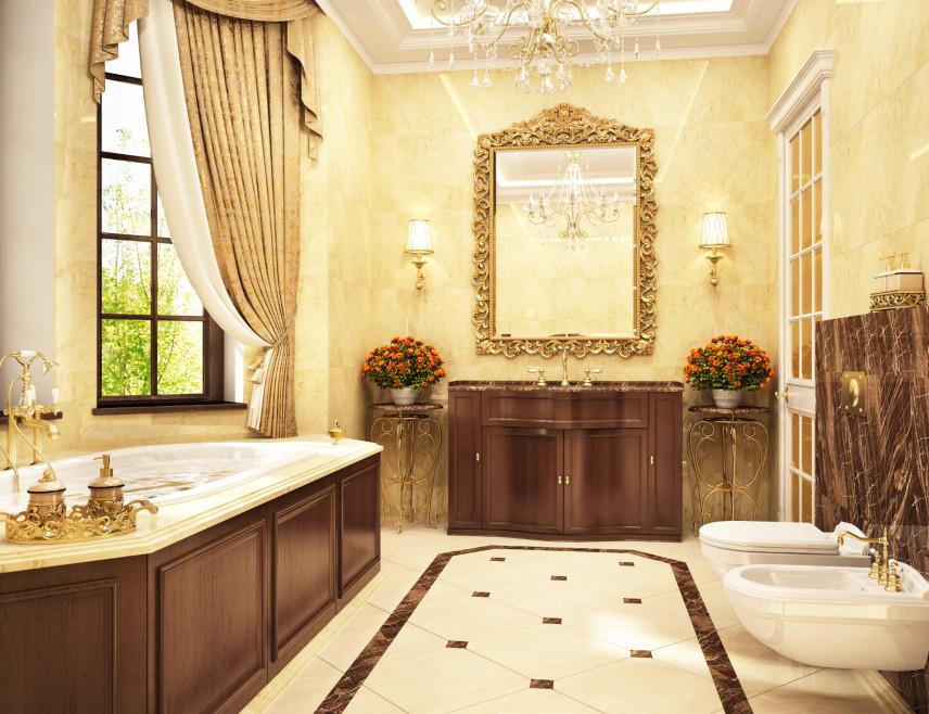 Toskańska łazienka z żółtymi ścianami