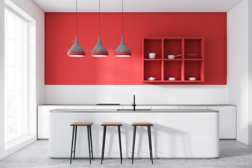 Nowoczesna kuchnia w kolorze czerwono-białym
