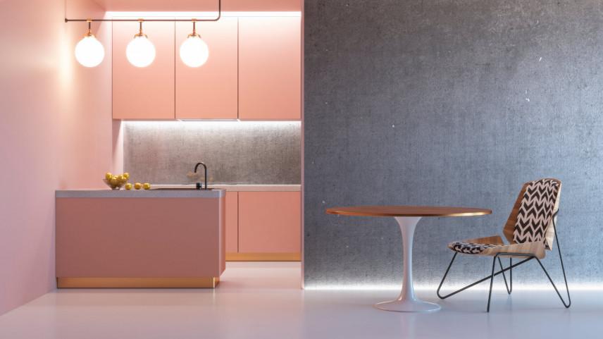 Różowa kuchnia z betonową ścianą